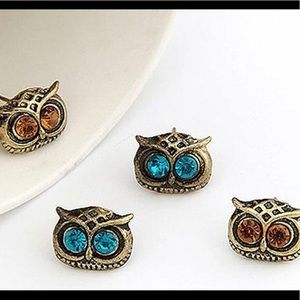 Antique Gold/Silver Owl Earrings w/Crystal Eyes